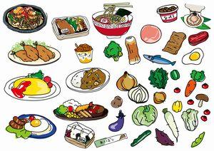 栄養のある食べ物を沢山描いているイラスト