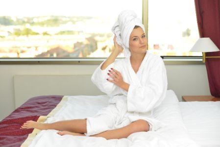 風呂上りの女性の写真
