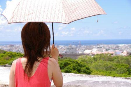 日傘をさして紫外線対策をしている女性の写真