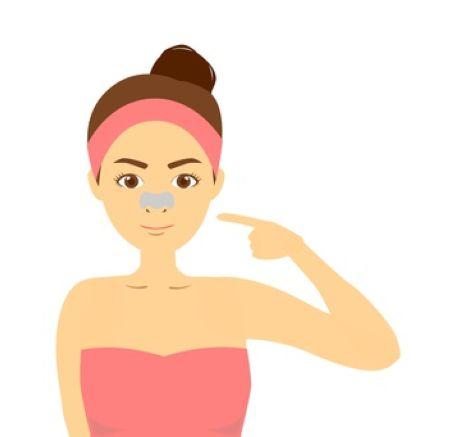 毛穴パックをしている女性の絵