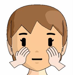 小鼻からほほへのマッサージの方法を解説している画像