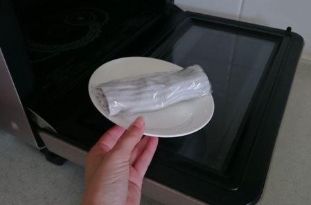 蒸しタオルを作っている写真