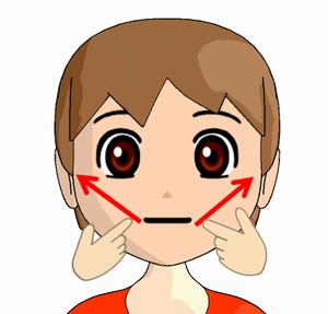 口元から耳下腺リンパ節へのマッサージ方法