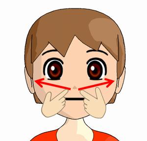小鼻横から耳下腺リンパ節へのマッサージの方法