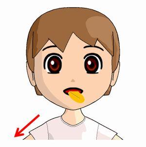 ベロ出し体操で舌を左下に出す絵