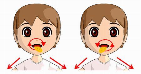 ベロ出し体操の舌を回す方法のイラスト