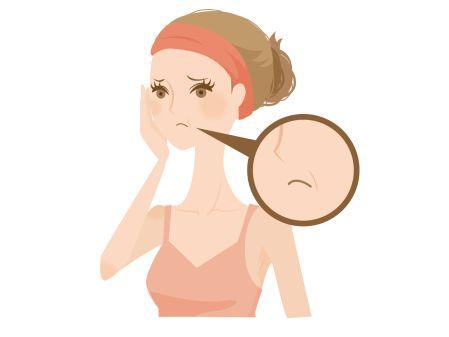 たるみ肌を気にする女性のイメージ図