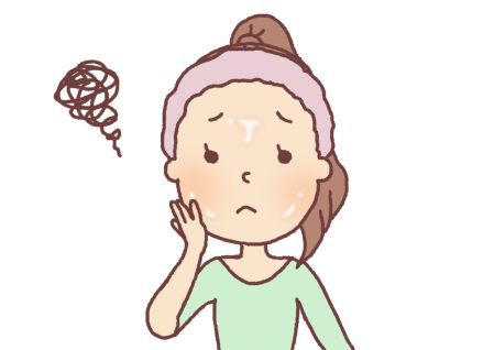 皮脂の分泌が過剰で、肌がテカっている女性の写真