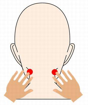 完骨(かんこつ)のツボの効果的な押し方を紹介するイラスト
