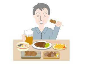 コレステロールを溜めている食事をする人