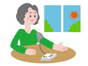 朝、高血圧か血圧を測る女性のイラスト