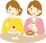 お菓子を食べる女性のイラスト