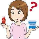 飲むヨーグルトと普通のプレーンヨーグルトの違いを考える女性のイラスト