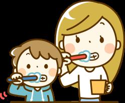 歯ブラシで歯磨きをする親子のイラスト