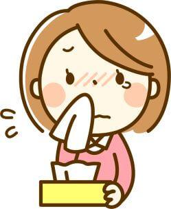 鼻水に苦しむ女性のイラスト