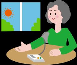 高血圧で血圧を測定する女性のイラスト