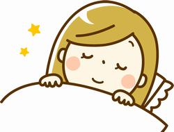 すやすや眠っている睡眠中の女性のイラスト