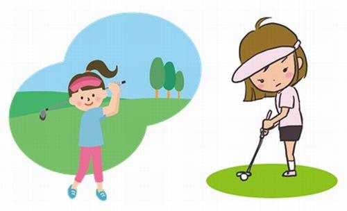 ゴルフのドライバーショットとパットをする女性のイラスト