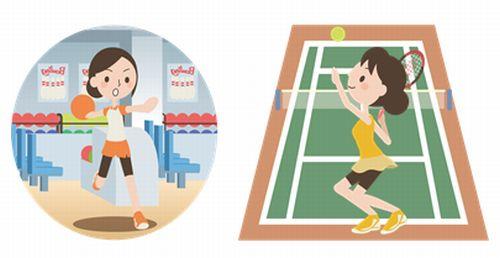 テニスとボーリングをする女性のイラスト