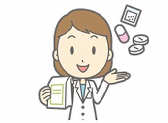 薬と女性のイラスト
