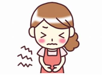 生理痛でお腹を傷めている女性のイラスト