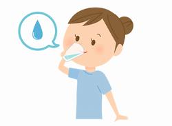 サプリを水で飲んでいる女性のイラスト