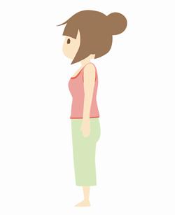 背筋を伸ばして立つ女性のイラスト