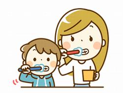 歯を磨く女性と子供のイラスト