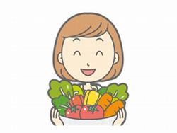 野菜を持つ女性のイラスト